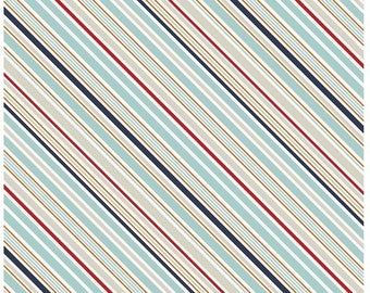 Blue and Red Stripe Fabric- Game Day Fabric by Lori Whitlock and Riley Blake Designs C5894 Multi- Navy Blue Cotton Fabric Cotton by the Yard