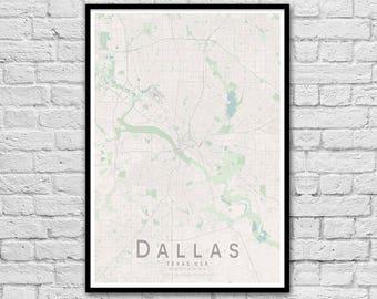 DALLAS Texas USA City Street Map Print | Wall Art Poster | Wall decor | A3 A2