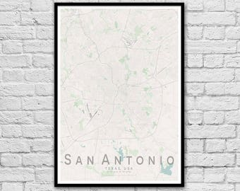 SAN ANTONIO Map Print | United States City Map Print | Texas Wall Art Poster | Wall decor | A3 A2