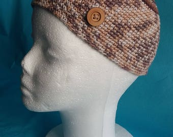 Heather brown lines adult teen Hat light brown and dark brown wooden button