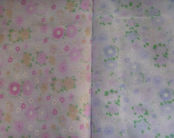 fabric remnants, blue and pink floral fabrics, 2 fabric remnants