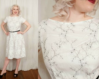 1950s White Cotton Sun Dress - Large