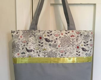Tote Bag, tote, handmade tote bag, woodland fabric, fabric bag, handbag, unique bag, original, gift for her, trees, flowers, birds, gift,