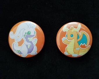 Pokemon Buttons - Goodra Button - Dragonite Button - Dragon Buttons