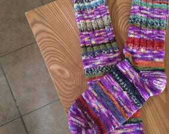 Hand-knitted women's socks in variegated stripes