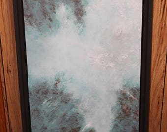 "Large abstract art//original abstract painting//handcrafted painting//double wood framed//dark brown frame//teal brown colors//27""x51"""