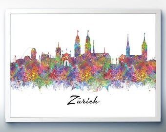 Zurich Skyline Watercolor Art Poster Print - Wall Decor - Watercolor Painting - Illustration -Home Decor-Office Decor - Kitchen Decor
