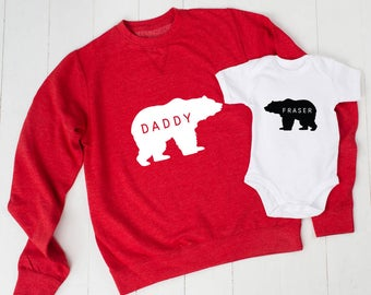 Personalised Daddy Bear Jumper And Baby Grow Set