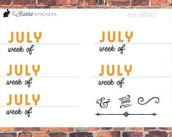 Week of stickers -- 0087 Bullet journal week header stickers, bujo stickers, calendar stickers, week headers, planner stickers