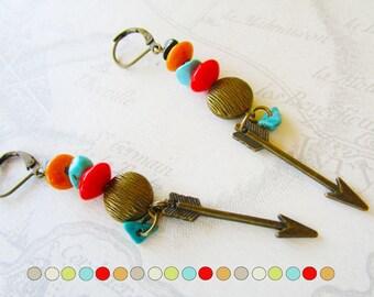 Ethnic earrings, bronze arrow, multi-colored chips