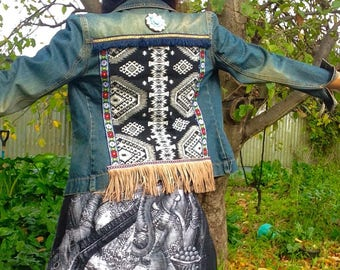 Boho gypsy styled upcycled & embellished denim jacket