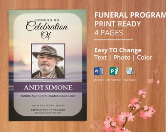 Printable Funeral Program Template, Obituary Program Template | Editable With Microsoft Word, Mac Page & Publisher- EF94