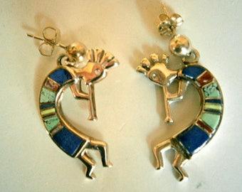 Navajo Kokopelli Earrings Calvin Begay