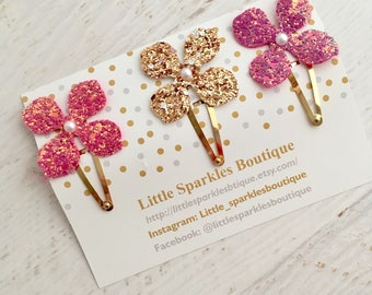 Flower clip, pink flower clip, gold flower clip, purple flower clip, girls hair clip
