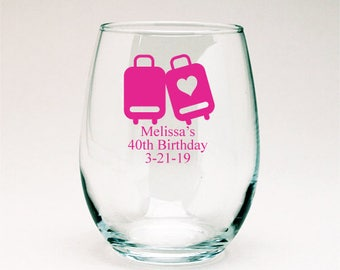 24 pcs Love Travels Design Personalized 9 Oz Stemlesss Favors (JM365294)