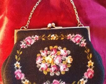 Beautiful Vintage Needlepoint, Tapestry, Carpetbag Handbag