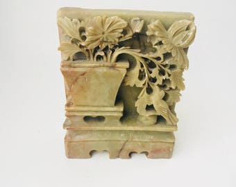 Vintage Carved Soapstone Bookend/Carved Stone/Soapstone Carving/Decorative Statue