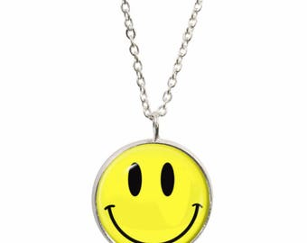 Smiley Face Pendant and Silver Plated Necklace