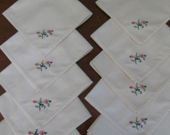 10 Cute Napkins with Cross Stitched Flowers