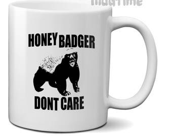 Honey Badger - Dont Care - Funny Coffee Tea Mug Cup - 330ml - 11oz Ceramic