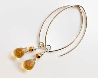 Citrine Dangle Earrings, Sterling Silver and Gold Fill, Marquise Ear Wires, November Birthday, Faceted Honey Citrine Dangles, MahiDesigns1