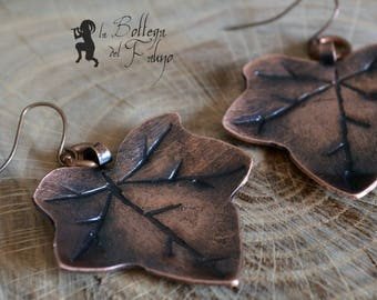 Ivy Leaf, Handmade Copper Earrings