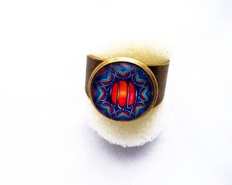 Pretty ring adjustable blue and orange mandala