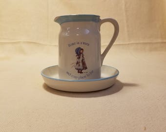 Vintage Holly Hobbie Pitcher and Bowl Blue Girl Stoneware