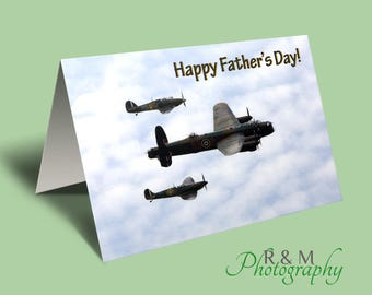 Fathers Day card - spitfire - lancaster - hurricane - planes - greetings card - nostalgic card - plane card - aircraft - aeroplanes