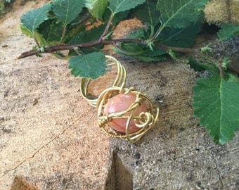Brass wired wrapped ring genuine stone.