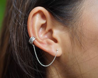 Silver Ear Cuff With Chain, Silver Ear Studs, Bohemian Style, Funky Ear Cuffs, Chain EarCuffs, (E64)