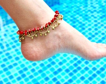 Woven Coral Beads Anklet, Beads Anklet, Gold And Red Anklet, Boho Anklet, Summer Wear Anklet, Beach Anklet, Gypsy Anklet,(A53)