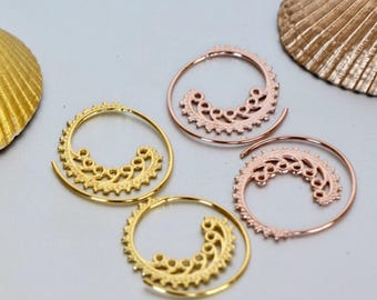 Gold Ear Hoops Set, Gold And Rose Gold Dipped Hoops, Boho Ear Hoops,Pretty Hoops, Piercing Hoops, Ear Wires,Ear Hoops (E108/9)