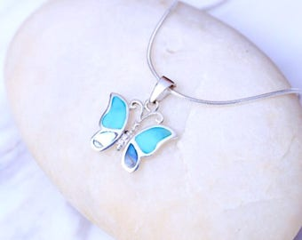 Silver turquoise  and opal butterfly pendant, Sterling Silver chain, Silver butterfly  pendant,  silver necklace, Boho jewelry (P1/2)