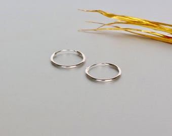 16mm Sterling Silver Hoop Earrings, Cartilage Silver Hoop , Ear Accessories, Silver Hoop, Silver Gifts, Delicate Body  Ear Hoops, (SE19)