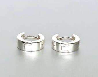 Silver Ear Hoops, Flat Silver Hoops, Minimal Silver Hoops, Sterling Silver Hoops, Piercing Hoops, Gift Ear Hoops  (E201)