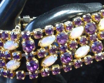 Vintage Costume Opal and Rhinestone Bracelet