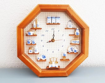 Rare clock from the seventies , hand made with china doll house items