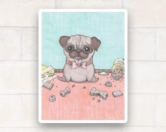 Glutton Pug Print