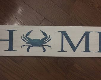 Home crab sign wood wall decor