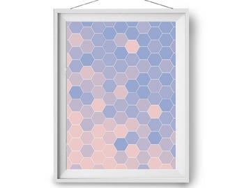 Colorful Print, Nursery Art, Pink Purple Blue Art Print, Honeycomb Art, Geometric Print, Scandinavian Art, Art Prints, A1, A2, Print Avenue
