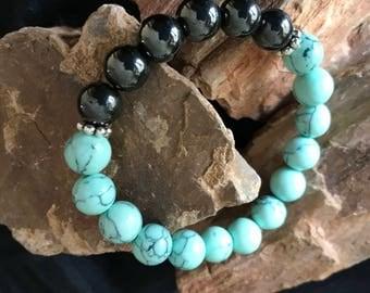 Turquoise & Hematite Stretch Bracelet