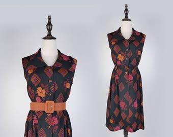 Red Graphic Print Peter Pan Collar Sleeveless Black Vintage Women Dress Size M