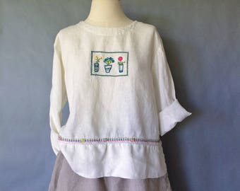 Vintage floral 100% linen top/shirt/blouse made in USA women's size S/M