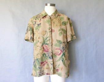Vintage linen blouse/ button down shirt/ floral/ garden pattern/ floral shirt women's size S/M