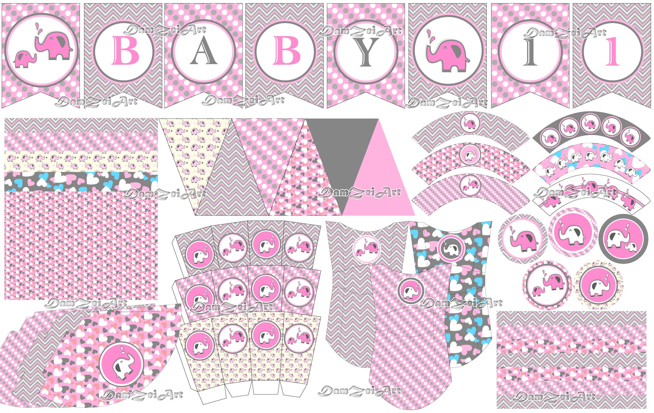 Elephant Baby Shower Decorations Pink And Grey Baby Shower Unisex Elephant  Baby Shower Decorations Pink And