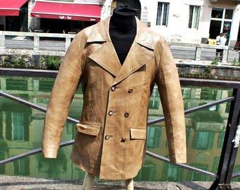Leather short trench coat beige original vintage years 70