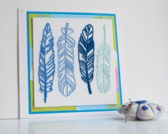 Greeting card, original card, hand embroidered card, feather