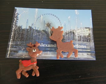 Christmas collection: 1 cabochon reindeer in Brown and Red resin