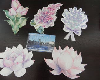 5 postcards with minimum flowers 9 cm x 7 cm